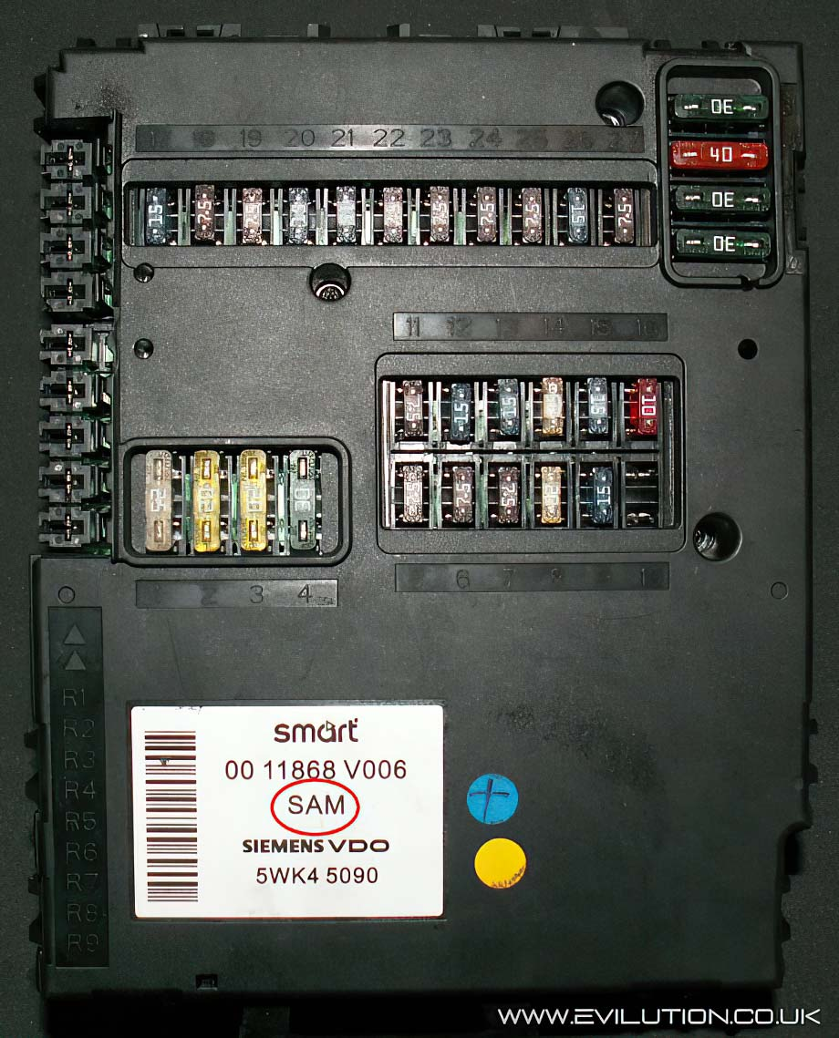 evilution smart car encyclopaedia Passion Smart Car Fuse Box the mk7 and roadster fusebox (also known as the sam unit) contains 44 fuse holders